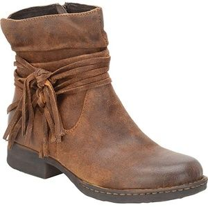 "BORN ""Cross"" Ankle Tassel Suede Tobacco Brown Boot"